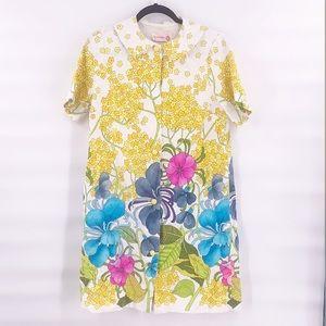 Vintage lorraine floral mod dress 60s 70s small